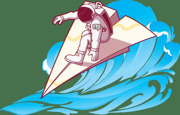 Astronaut riding wave 877x